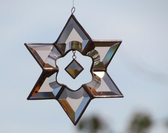 3D Peach Champagne Stained Glass Sundrop Star Suncatcher with Copper Lines