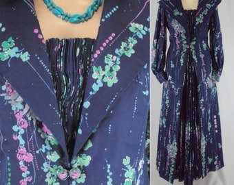 Dress Floral maxi size L blue dark multi color pleated dress  1950s Free shipping !!!