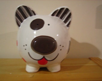 Personalized Large Piggy Bank Puppy Dog Polka Dots Big Brother Little Brother, - Birthday, Ring Bearer , Christening Gift