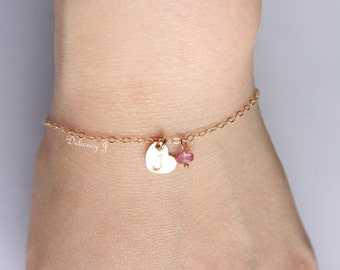 Gold Monogram Heart Bracelet with Birthstone Charm, Gold Heart Jewelry, Initial Bracelet, Personalized Bridesmaid Gifts, Christmas gifts