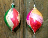 Vintage Glass and Glitter Christmas Ornaments Mulit Color set of 2