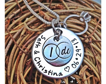 Personalized Hand Stamped I Do Bride jewelry
