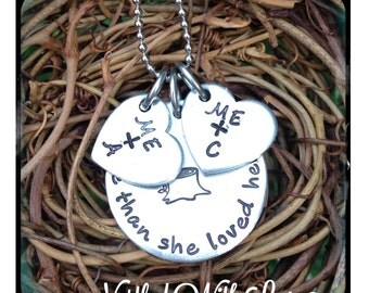 Personalized Hand Stamped Tree Stump Initial Necklace