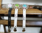 Limited Edition Custom White Patent Leather Pacifier Clip