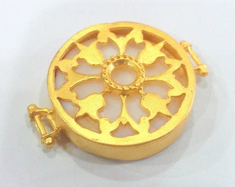 Mother of Pearl Connectors , Gold Plated Brass Bezel 28 mm   G1154