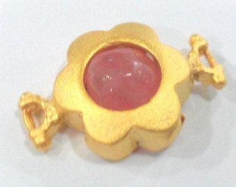 14 mm  Pink  Connectors , Gold Plated Brass Bezel  G1466