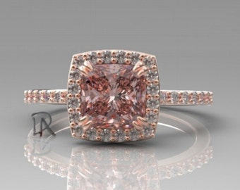 14kt Morganite Engagement Ring Morganite Ring Rose Gold Diamond Halo Custom Pink Morganite Cushion Cut