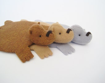 Bear Coaster (Set of Three) by Dandyrions / Home Decor / Felt cup coaster / Table Setting Accessory