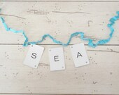 SEA Banner Vintage Letter Cards Turquoise Decor DIY Wedding Sign Beach Cottage