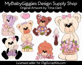 Garden Thyme Teddies Clip Art Digital Graphics Scrapbook Card Making Supply INSTANT Download