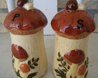 Brown and Tan Ceramic Mushroom Shakers
