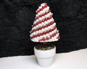 Small Topiary - Candy Cane Red and White Art Piece OOAK Vintage Jewelry Assemblage Home Decor Table Decor