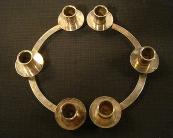 Vintage Modern Mod Silver Plate Half Round Triple Candle Holders