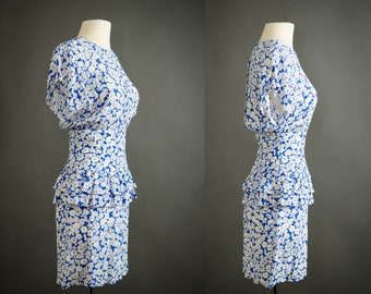 vintage blue floral peplum dress small