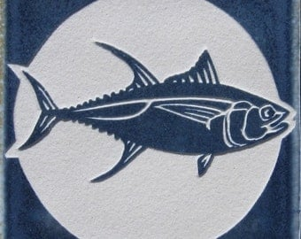 4x4 Yellowfin Tuna - Etched Porcelain Tile - SRA