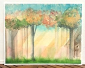 sunlight in the forest large abstract watercolor painting, pink, teal, gold, yellow, landscape watercolor