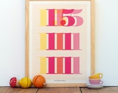 Personalized Baby's Birth Date and Stats - Custom Nursery Decor Art Poster (Yellow, Pink, Orange)