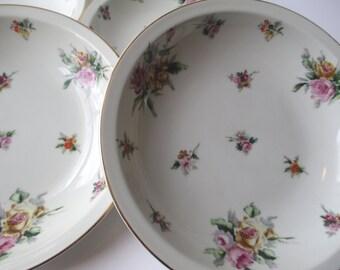 Soup Bowls Meito China Garden Rose Floral Rimmed Set of Four - Vintage Occupied Japan