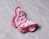 Pretty Pink Crochet Butterfly Hair Clip, Ruby Red Bead Eyes, Nature Inspired Fashion Accessory, Handmade by NutmegCottage