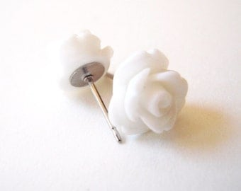White Rose Stud Earrings- Surgical Steel Post Earrings- Flower Earrings- 10mm