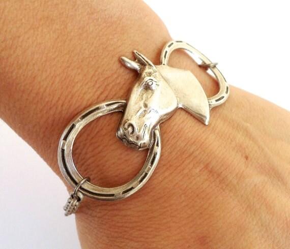 Steampunk Horse Bracelet- Sterling Silver Ox Finish- Horseshoe Bracelet-Black Friday Sale 20% Off