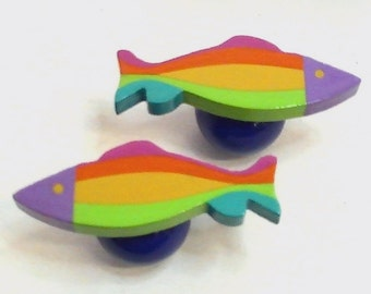 CABINET HARDWARE Colorful Fish Shape Cabinet Knob & Pulls