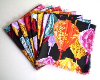 Asian Cloth Napkins, Oriental Cloth Napkins, Paper Lantern Napkins Asian Dining Room Decor, Set of 9 Napkins