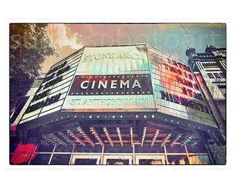 Stone Arch Cinema, fine art digital photo, wall art, home decor, Minnesota photo, Minneapolis, office art