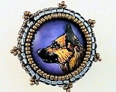 German Shepherd Pin Brooch - Bead Embroidery