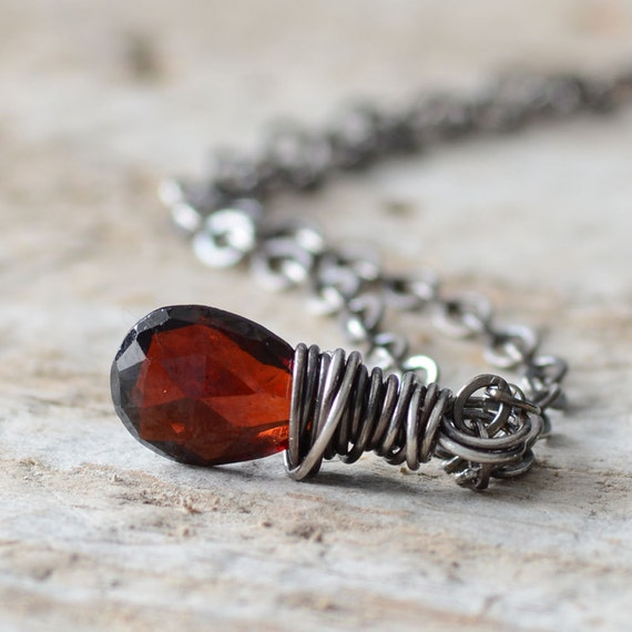Garnet Gemstone Necklace Oxidized Sterling Silver Wire Wrapped Garnet Necklace January Birthstone Mother's Day Jewelry Red Garnet Pendant