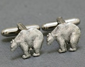 Polar Bear Cufflinks Silver Plated Metal Vintage Inspired Style Antiqued Finish Men's Cuff Links & Accessories