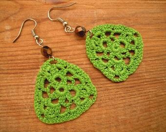 green crochet earrings