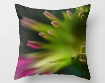 Floral Throw Pillow Cover, Photo Cushion Case, Home Decor, Peridot, 36x36 41x41 46x46 51x51 56x56 61x61 cm, Gerbera Daisy Art Pink and Green