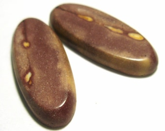 Australian Mookaite Cabochon Pair - AWESOME Incredible detail - Perfect for Earrings or Cufflinks
