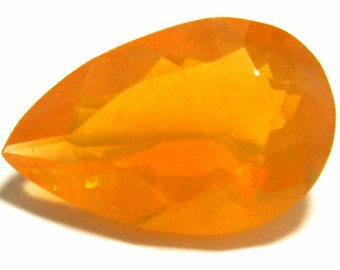 Fire Opal Gem Stone Perfect for an Engagement Ring Solid Jelly Opal Designer Pear Shape Hand Cut Lovely Orange AAA Grade Stone