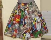 Womens Marvel Skirt - Comic Book Characters - Full Gathered Skirt - Full of Twirl Flounce