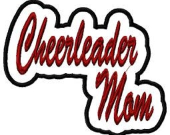 Cheerleader Mom Script with Back Ground Embroidery Machine Applique Design 10769