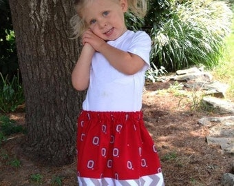 Girls's skirt in  Ohio State block O fabric with gray Chevron Hem sizes 3t ready to ship