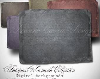 "Digital Background Textures ""Antiqued Damask Collection"" png format"