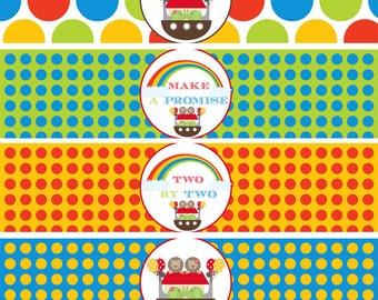 Instant Download - Noah's Ark Printable Water Bottle Labels - Baby Shower, Birthday, Christening