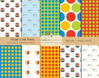 Instant Download - Noah's Ark Digital Papers, Noah's Ark Backgrounds - Personal Use Only