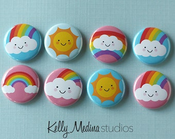 Sun and Rainbow 1 inch Magnets or Pins - Set of 8 - Designs By Kelly Medina Studios