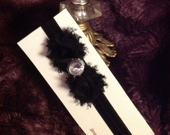 Black Shabby Rosette Headband