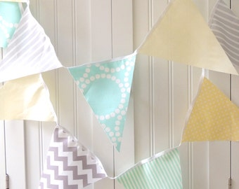Baby Shower Banner, Bunting, Fabric Pennant Flags, Birthday Party, Baby Nursery, Wedding, Light Aqua Blue, Grey, Pastel Yellow, Chevron