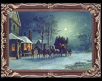 A Vintage Winter  Miniature Dollhouse Art Picture 6810