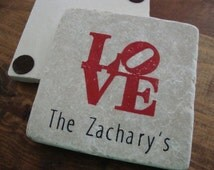 Philadelphia Love Statue Coasters Robert Indiana Coaster Set of 4 Personalized Wedding Favors Save the Date Stone Tile Customized Cozie Gift