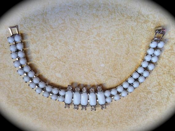 Vintage milk glass/rhinestone bracelet- White Bridal Bracelet- Vintage Jewelry- Bracelet Antique Costume Jewelry- Art Deco Bracelet
