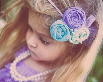 Little Mermaiden - mermaid inspired rosette headband