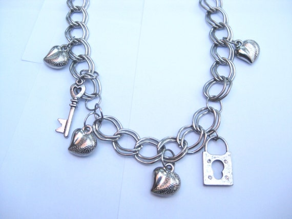 Charm Necklace Silver Tone Cable Chain with Hearts, Lock and Key FREE SHIPPING