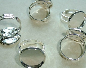 Destash (5) RING Blanks Adjustable - smooth edge - for jewelry making, crafts, scrapbooking